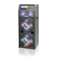 New Pyle PSUFM1240P 1400 Watt Disco Jam Powered Two-Way PA Speaker System w/ USB