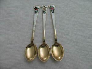 NORWAY Sterling Silver Enamel demitasse Spoon RARE