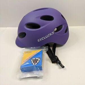 Exclusky Adult Cycling Bike Helmet Purple Adjustable Lightweight Warning Light