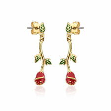 Disney Couture Beauty & the Beast Gold-Plated Enchanted Rose Drop Earrings