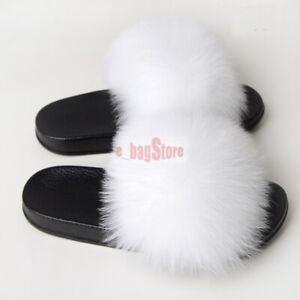 Women BIG Fluffy Real Fox/Raccoon Fur Slides Slipper Outdoor Sandals Flat Shoes