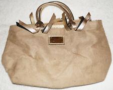 Victoria's Secret Beige Brown Faux Suede Leather Shoulderbag tote purse bag