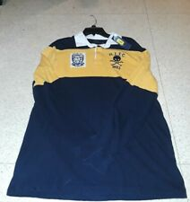 NWT POLO RALPH LAUREN MENS LONG SLEEVE YELLOW STRIPED SKULL RUGBY POLO SHIRT