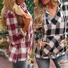 1x Women Plaid Blouse T-Shirts Casual Long Sleeve Slim Fit Jumper Tops Pullover!