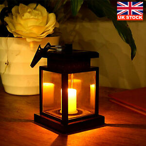 Solar Powered Flickering LED Candle Lanterns Waterproof Hanging Outdoor Lamp UK