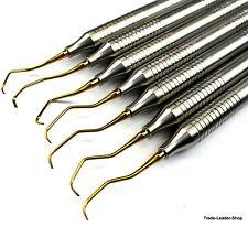 7X Curetas de Gracey Dental Cirugía Curettes Gold Sondas Natra Germany
