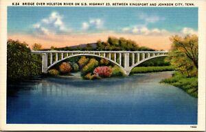 Vintage 1930's Holston River Bridge, Johnson City Tennessee TN Post Card