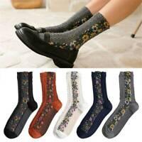 Fashion Vintage Women Retro Floral Pattern Cotton Socks Autumn Winter Warm Socks