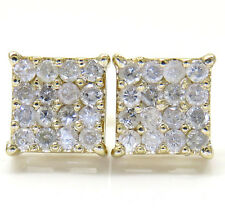 0.65ct Mens Ladies 14k Yellow Real Gold i1 Diamond Sqaure Earrings Studs
