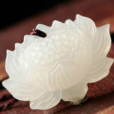 Lotus Pendant Jewelry Gift Fashion Women Hand-Carved White Jade