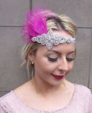 Hot Pink Silver Feather Headpiece 1920s Headband Flapper Great Gatsby Vtg 4344
