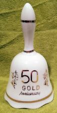 Vintage 50th Anniversary Porcelain Bell - White with Gold Trim