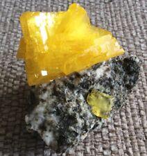 Yellow Pruskite Specimen - Sunshine Yellow Crystals- UK Seller