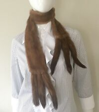 Mink real fur neckpiece beige color