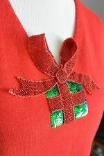 MICHAEL SIMON Red Christmas Sweater VEST Jeweled Beaded Sequin 3-D Present L