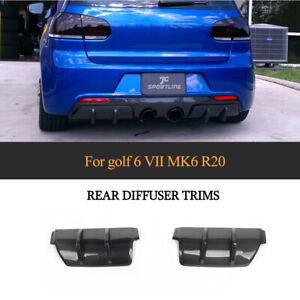 Fit For Volkswagen Golf 6 MK6 R20 10-13 Carbon Fiber Rear Bumper Diffuser Cover