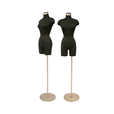 Female Adult Black Dress Form 3/4 Mannequin Torso Display with Round Metal Base