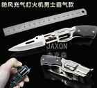 1PC Creative Windproof Lighters Jet Flame Butane Lighters with Pocket Knife
