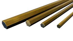 Brass Hexagonal Bar Hex CZ121 - 5, 6, 8 &10mm A/F 50,100, 150, 300 & 600mm long