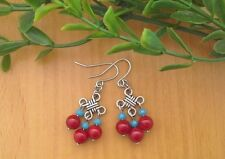 Red CORAL Gemstone & Turquoise Crystal Beads Chinese Lucky Knot, Dangle Earrings