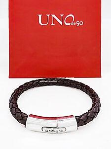 New Uno De 50 Silver Tone Men's Brown Leather Stable Bracelet PUL2002MARMTL