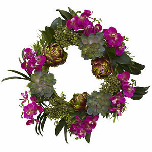 """Orchid Artichoke & Succulent Wreath Realistic Nearly Natural 20"""" Home Decoration"""