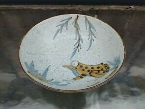 Shafford Stoneware Bowl Asian Style Frog Misty Morn Japan