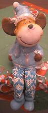 Weihnachten Rentier Elch mit Glocke als Kantensitzer 17 x 7 cm Keramik Deko Neu