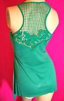 Woman's top tunic blouse Summer Sun Tank crochet back front pocket Green S M L