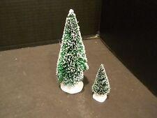 christmas village Dept 56 trees 2 two pine evergreen snow covered bottle brush