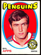 1971 72 OPC O PEE CHEE #77 SYL APPS EX-NM PITTSBURG PENGUINS RED WINGS HOCKEY