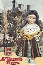 Vintage Crochet PATTERN to make Doll Clothes Skirt Bonnet Hat Shawl France Pyren