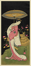 Japanese Art Print: Floating World: Woman with umbrella: Fine Art Reproduction