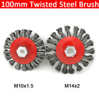 Twist Knot Flat Wire Wheel Brush For 4''/100mm Angle Grinder Rotary Rust Removal