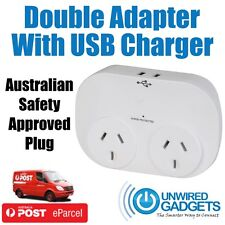 AUSTRALIAN SURGE PROTECTED DOUBLE ADAPTER WITH USB CHARGERS LED INDICATOR