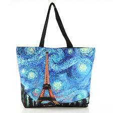 Women's Van Gogh Eiffel Tower Fossil Tote Shopper Bucket Shoulde Bag Handbag New
