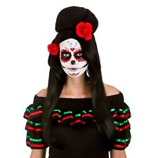 Day of the Dead Darling Wig Mexican Womens Fancy Dress Ladies Hair Flowers
