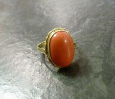 Goldring mit ovaler Koralle 585er Gold Ring 14 Karat GG Gr. 58 Korallenring