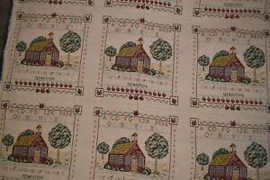 "Heavy tapestry fabric, 55"" x 2.5 yards, Schoolhouse sampler"