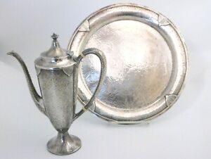 Wallace Art Deco Hammered Sterling Silver Pot and Tray