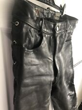 Black Leather Laced Jeans Size 32, Rocker, Skinhead, Bluf Gay Rubber Int
