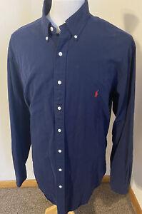 Ralph Lauren Mens Classic Fit Navy Blue Button Down Red Pony Shirt Sz XLT Tall