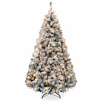 BCP 9ft Snow Flocked Pre-Lit Artifical Pine Christmas Tree w/ Warm White Lights