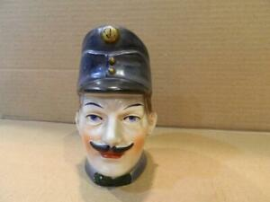 "Antique Rare Ceramic 5 1/2"" French or German Policeman Still Bank Great Mustache"