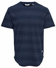 Only & Sons Men's Stripe Dennis Longy T-Shirts Cotton Jersey Tee Top Mood Indigo