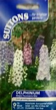 SEEDS SUTTONS FLOWER  DELPHINIUM MAGIC FOUNTAINS MIX SOW BY 7/2018 SEED RP £2.99