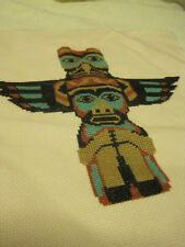 Completed ESKIMO TOTEM POLE  Counted Cross Stitch PICTURE