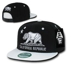Black & White California Republic Bear Star Flat Bill Snapback Snap Back Cap Hat