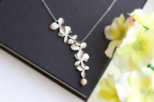 Orchid Flower with Artificial Pearl Necklace ~ Nature Themed Jewellery