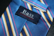 Bass Mens Neck Tie Blue Striped 100% Silk Career Wear   -MM-